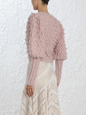 Pink Casual Geometric Crew Neck Balloon Sleeve Sweater_3