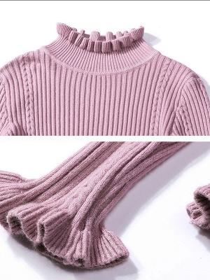 Crew Neck Long Sleeve Shift Casual Ruffled Sweater_10
