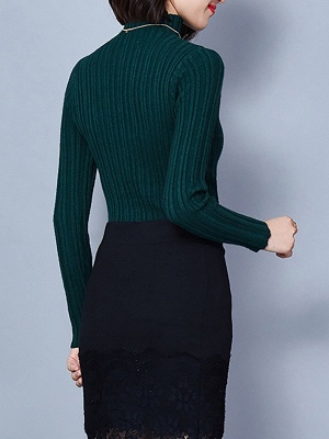 Ribbed Long Sleeve Solid Casual Sheath Sweater_13