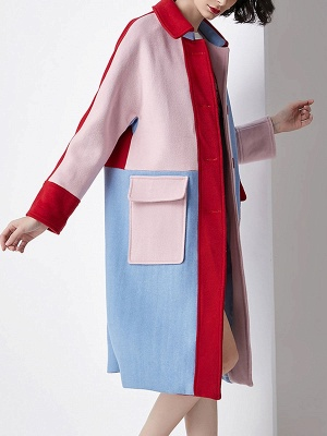 Blue Work Buttoned Pockets Color-block Coat_8