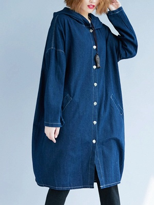 Blue Buttoned Casual Denim Solid Coat_5