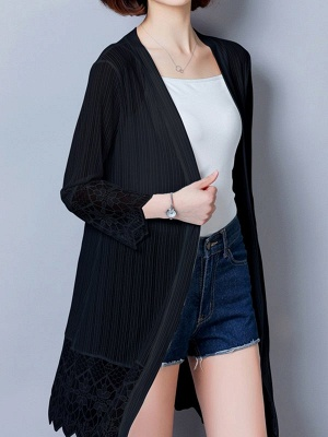 Paneled Casual Shift Long Sleeve Chiffon Coat_6