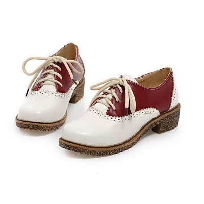 Lace-up Daily Chunky Heel Color Block Oxfords_9