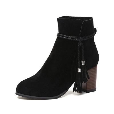 Chunky Heel Daily Tassel Zipper Elegant Boots_8