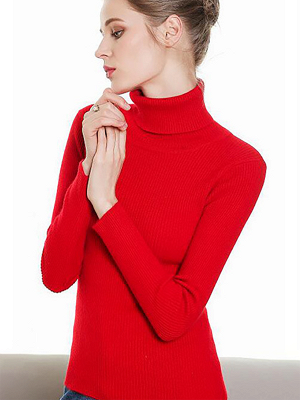 Sheath Turtleneck Ribbed Casual Long Sleeve Sweater_3