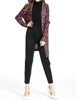 Multicolor Abstract Long Sleeve Shift Crinkled Coat_4