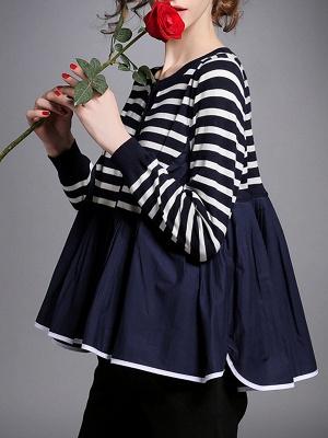Royal blue Striped Long Sleeve Shift Sweater_6