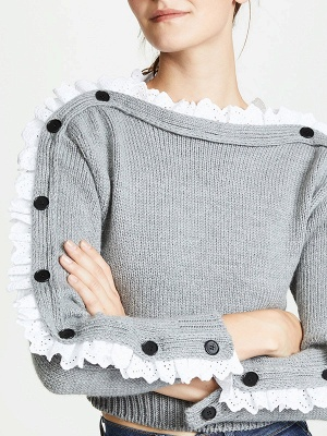 Gray Long Sleeve Wool Casual Sweater_6