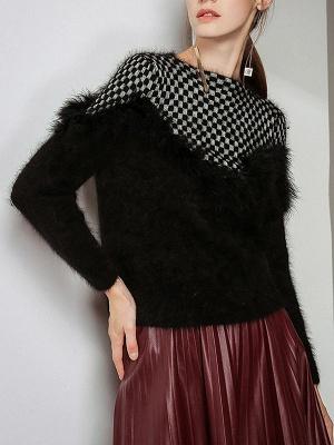 Long Sleeve Checkered/Plaid Sheath Casual Sweater_6