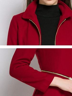 Stand Collar A-line Paneled Long Sleeve Casual Zipper Coat_11