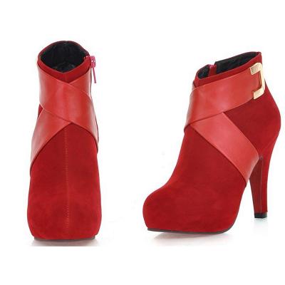 Stiletto Heel Zipper Suede Lace-up Cone Heel Round Toe Boots_2