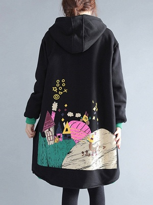 Casual Hoodie Zipper Long Sleeve Shift Pockets Printed Coat_4