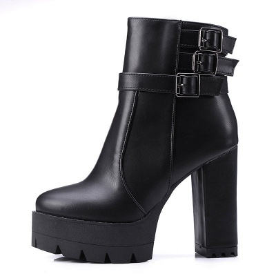 Daily Chunky Heel Zipper Round Toe Buckle Boots_15