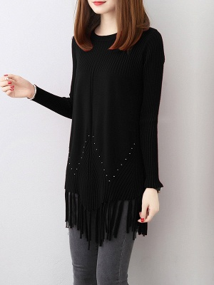 Casual Long Sleeve Crew Neck Sweater_2