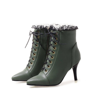 Date Fall Stiletto Heel Lace-up Pointed Toe Boots_3