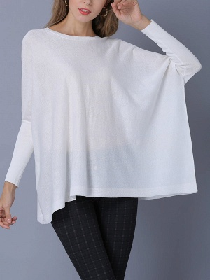 Solid Batwing Casual Knitted Crew Neck Sweater_6