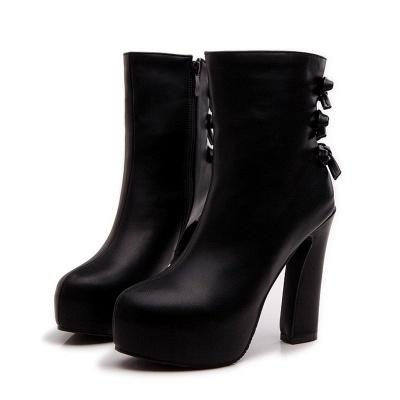Daily Chunky Heel Zipper Tie Round Toe Elegant Boots_3