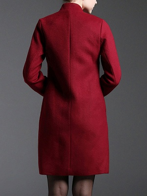 Red Floral-embroidered Pockets Buttoned Coat_3