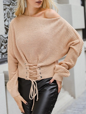 Lace up Long Sleeve Casual Crew Neck Sweater_8