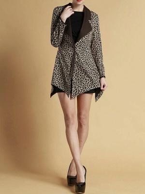 Brown Shawl Collar Asymmetrical Leopard Print  Coat_5