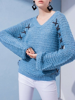 Long Sleeve Casual Knitted Sweater_2