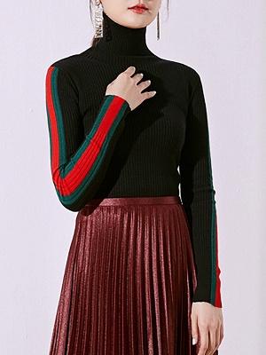 Solid Casual Sheath Long Sleeve Sweater_1