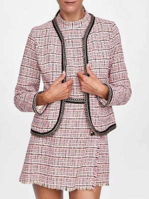 Pink Casual Shift Crew Neck Long Sleeve Paneled Pockets Coat_1
