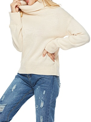 Solid Long Sleeve Casual Turtleneck Shift Sweater_1