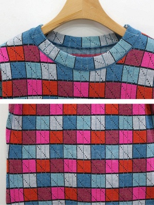 Multicolor Casual Checkered/Plaid Crew Neck Long Sleeve Sweater_5