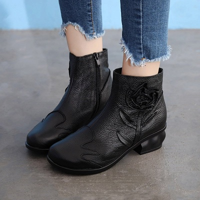 Chunky Heel Leather Flower Round Toe Boots_6