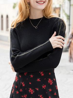 Black Casual Long Sleeve Crew Neck Sweater_1