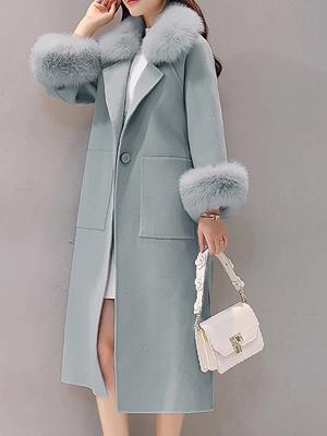 Long Sleeve Shawl Collar Paneled Pockets Slit Fluffy Coat_2