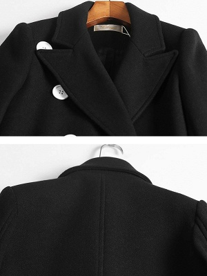 Black Buttoned Lapel High Low Slit Coat_5