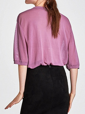 Purple Knitted 3/4 Sleeve V neck Sexy Sweater_3