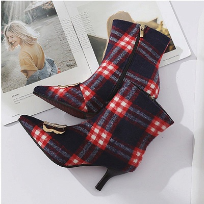 Suede Stiletto Heel Daily Pointed Toe Boot_5