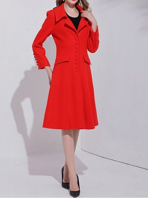 Red Buttoned Long Sleeve Work Lapel A-line Coat_2