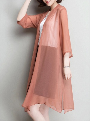 Solid Casual 3/4 Sleeve Shawl Collar Slit Chiffon Coat_8