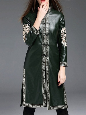 Green Buttoned PU Stand Collar Embroidered Coat_5
