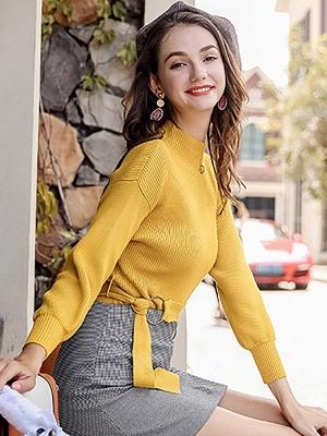 Casual Paneled Turtleneck Long Sleeve Sweater_4