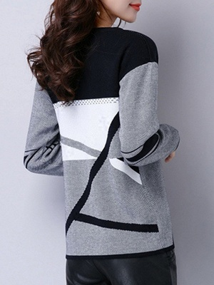 Casual Knitted Long Sleeve Sweater_4