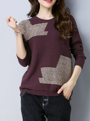 Crew Neck Casual Long Sleeve Sweater_2