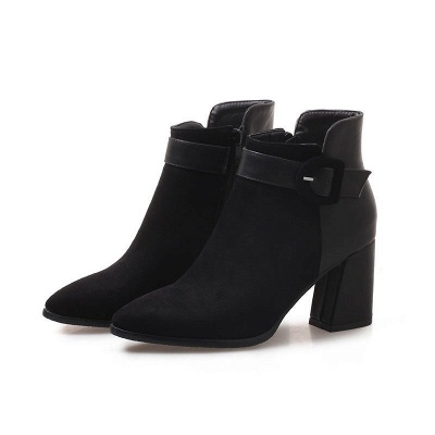 Daily Chunky Heel Suede Round Toe Boot_2