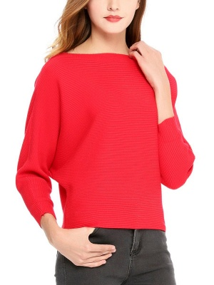 Slash Neck Batwing Simple Solid Sweater_13