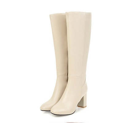 Zipper Chunky Heel Daily Round Toe Elegant Boots_2