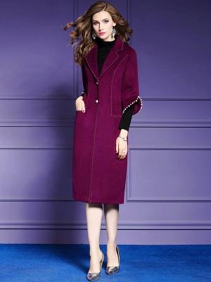 Purple Beaded Work Lapel 3/4 Sleeve Buttoned Coat_4