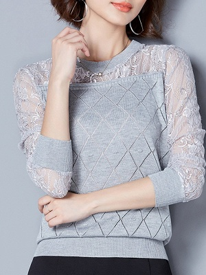 Shift Casual Long Sleeve Geometric Sweater_4