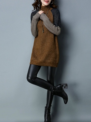 Long Sleeve Casual Intarsia Knitted Turtleneck Sweater_5