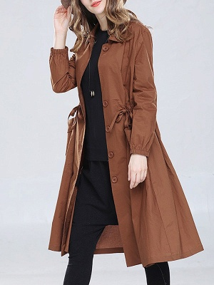 Solid Casual Long Sleeve Coat_5