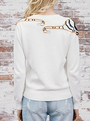Long Sleeve Embroidered Crew Neck Casual Sweater_4