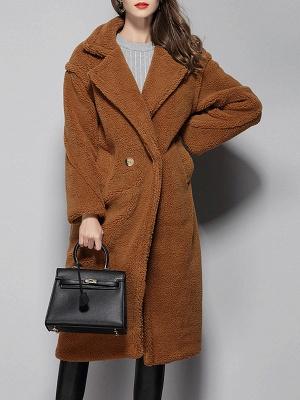 Long Sleeve Lapel Pockets Buttoned Coats_2